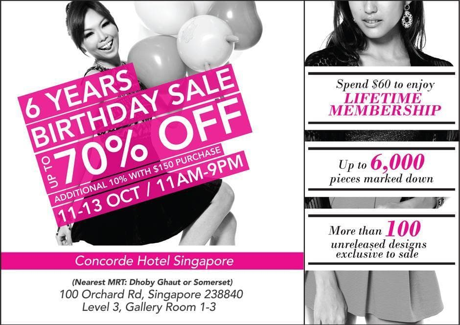 MDS Birthday Sale at Concorde Hotel 11-13 October, 11am to 9pm