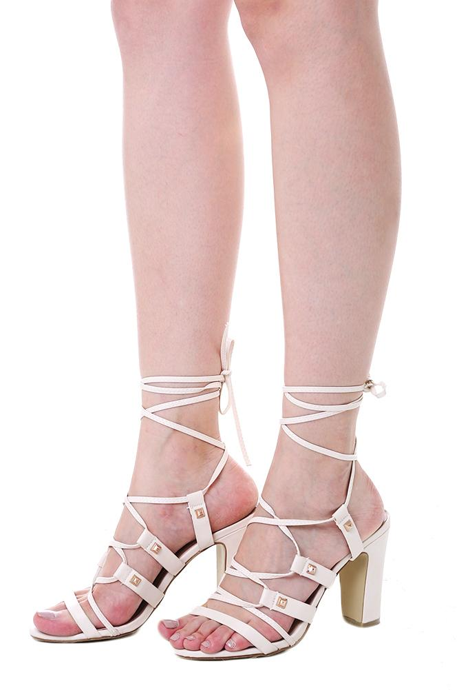 MDS. Zelia Gladiator Heels in Cream
