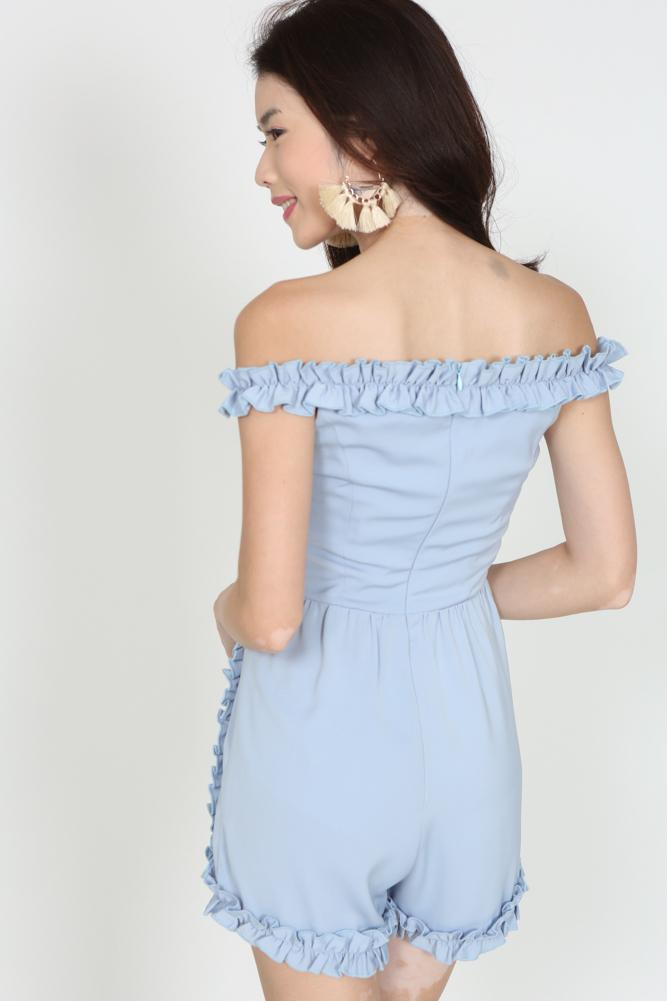 Frilly Ruffle Romper in Pebble Blue