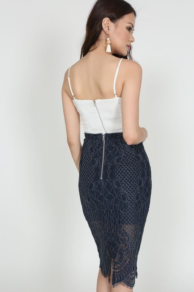 Lace Pencil Skirt in Midnight