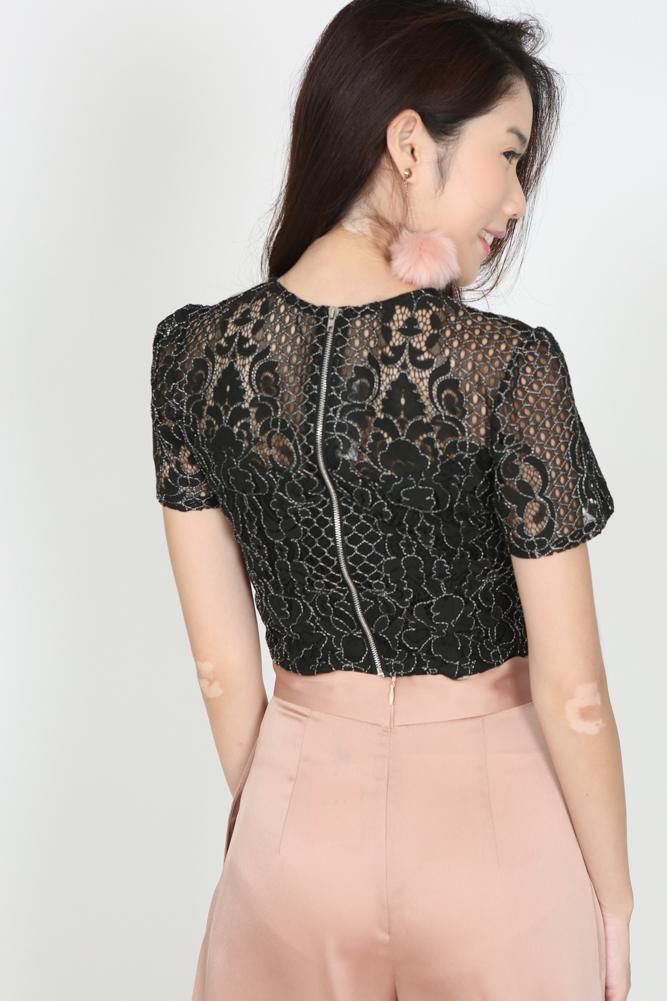 Lace Cropped Top in Black