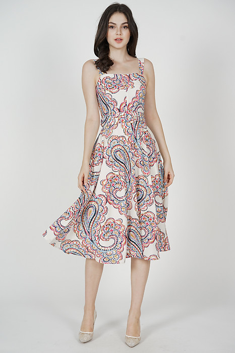 Flared Midi Dress in White Multi - Arriving Soon