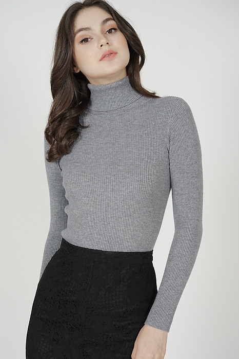 Leiga Turtleneck Top in Grey - Online Exclusive
