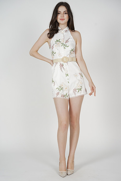 Monique Buttoned Romper in Cream Floral