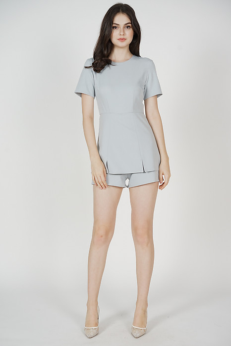 Lorna Overlay Romper in Ash Blue - Arriving Soon