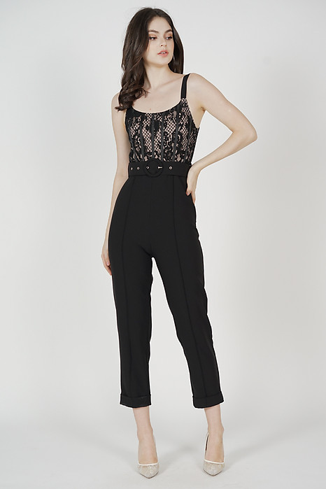 Noah Lace Jumpsuit in Black - Arriving Soon