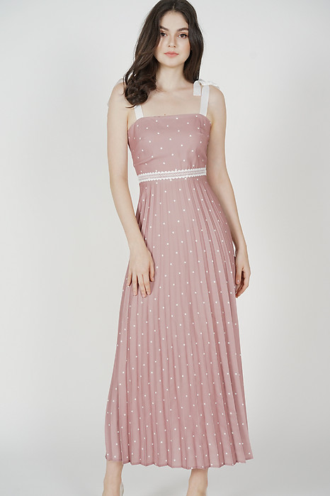 Adras Pleated Dress in Mauve Polka Dots