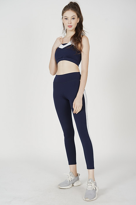 Fonia Striped Gym Tights in Navy - Arriving Soon