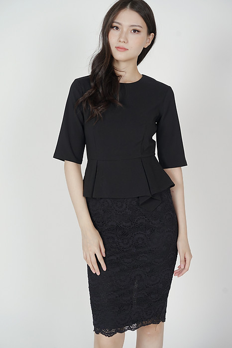 Ulla Peplum Dress in Black - Arriving Soon