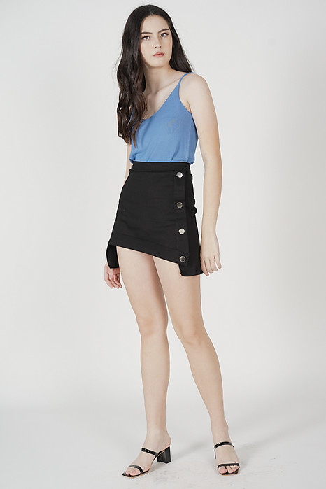 Kalos Asymmetrical Mini Skorts in Black - Online Exclusive