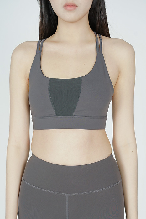 Nisha Strappy Padded Top in Dark Grey - Arriving Soon
