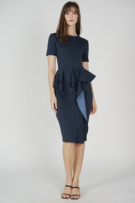 Aibel Ruffled Dress in Midnight - Arriving Soon
