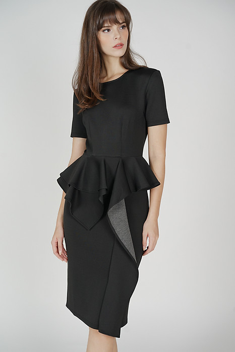 Aibel Ruffled Dress in Black - Arriving Soon