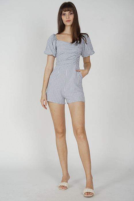 Yooni Puffy Romper in Ash Blue - Arriving Soon