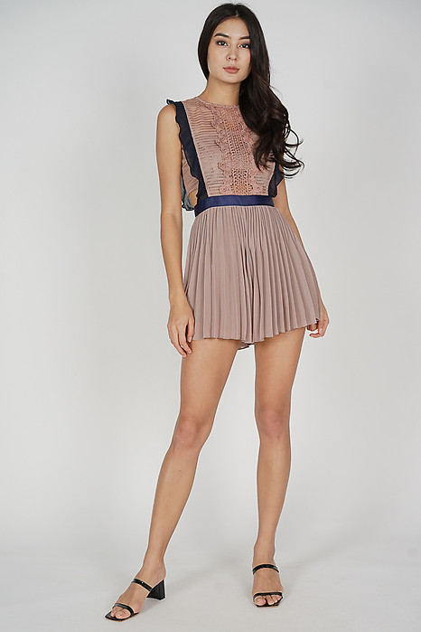 Beria Pleated Skorts Romper in Taupe - Arriving Soon