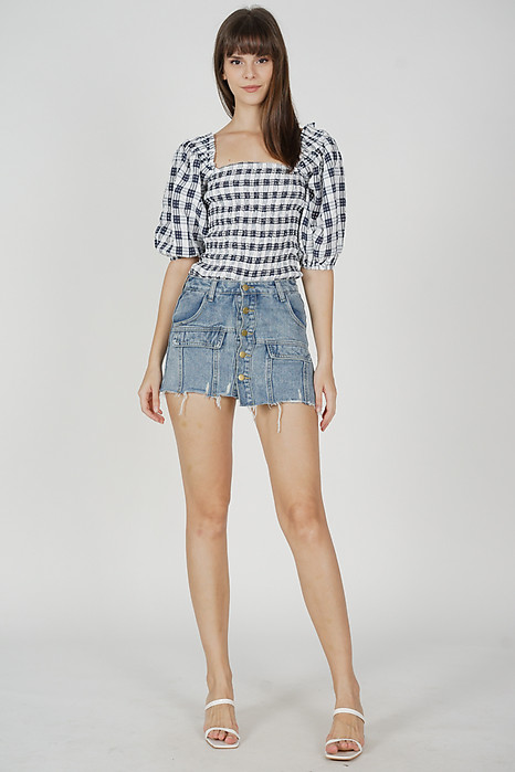 Umi Smocked Top in Navy Gingham - Arriving Soon