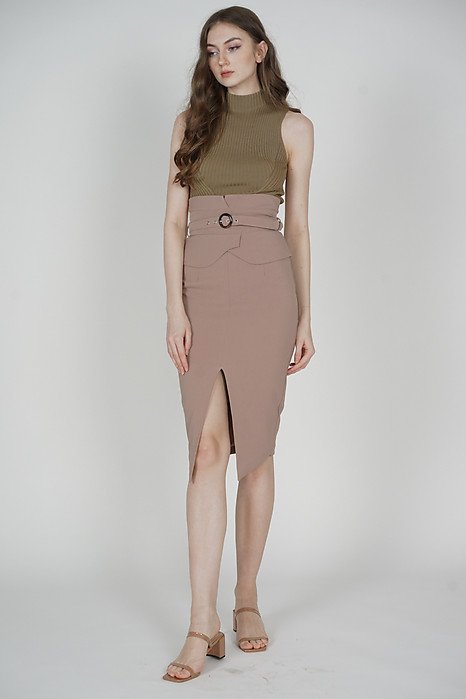 Oifa Buckled Midi Skirt in Taupe - Arriving Soon