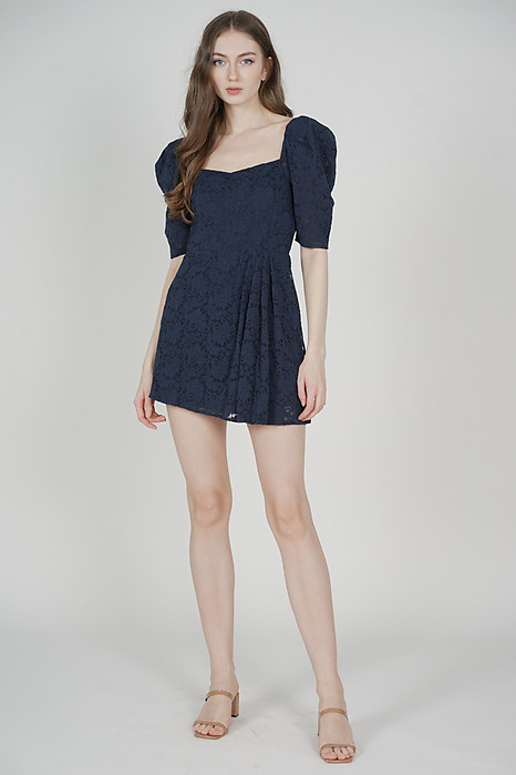 Christin Puffy Skorts Romper in Midnight - Arriving Soon