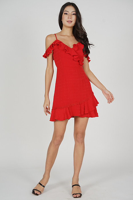 Frill Cami Dress in Red