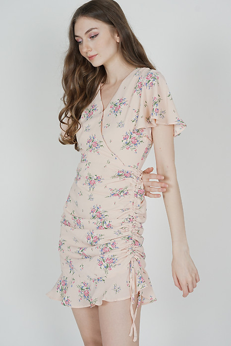 Kalie Side Ruched Dress in Pink Floral