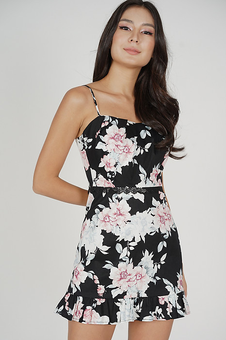 Zarie Ruffled-Hem Skorts Romper in Black Floral - Arriving Soon