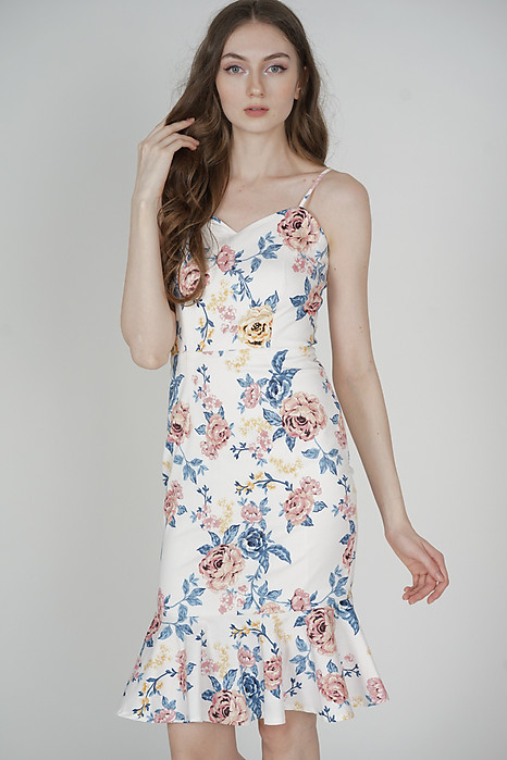 Avril Ruffled-Hem Dress in White Floral