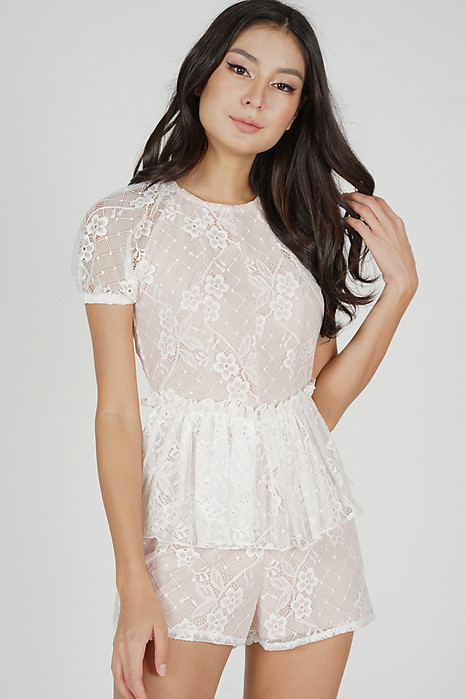 Demia Lace Romper in White - Arriving Soon