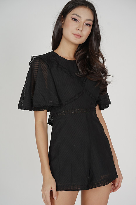 Yuri Flared Romper in Black - Arriving Soon