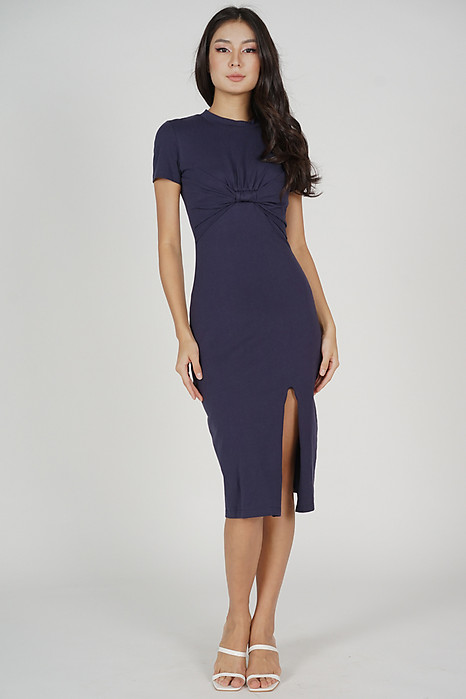 Pristin Front-Knot Dress in Navy
