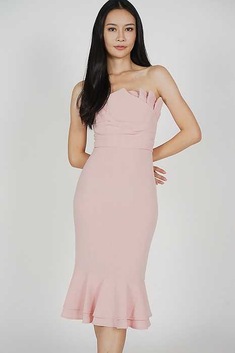 Vegh Ruffled-Hem Dress in Pink - Arriving Soon