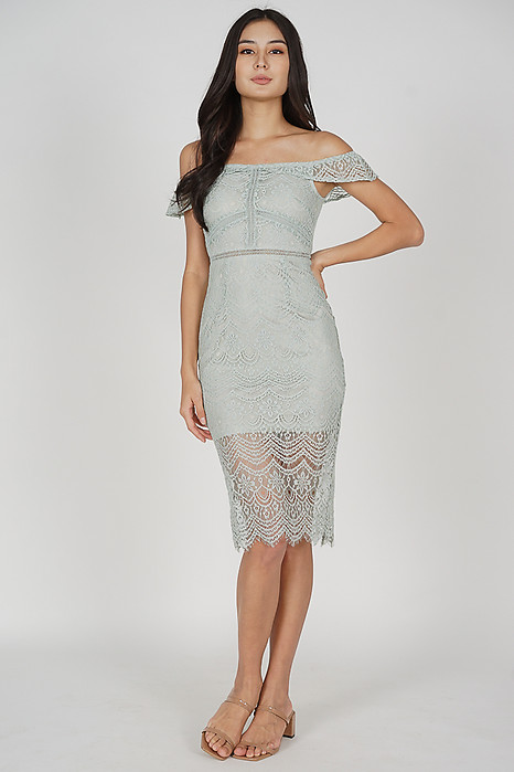 Hailey Lace Dress in Ash Blue