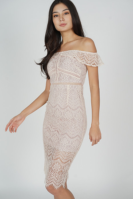 Hailey Lace Dress in Pink