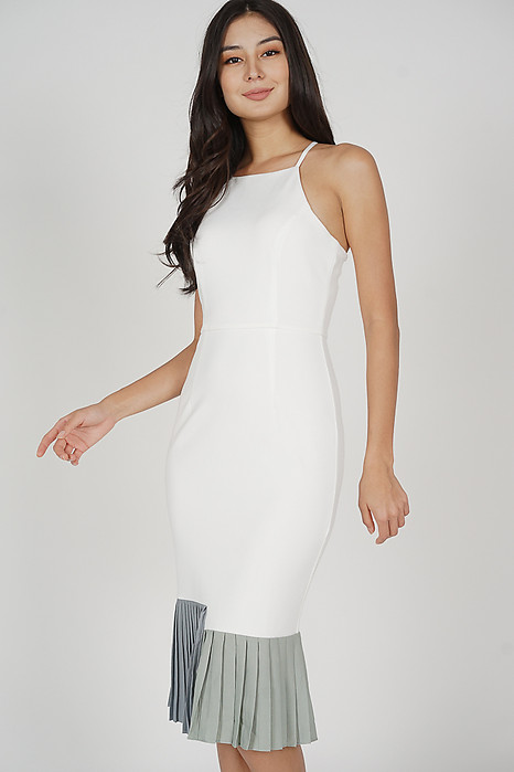 Dilara Pleated-Hem Dress in White - Arriving Soon