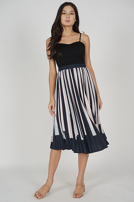 Jamien Contrast Pleated Skirt in Midnight - Arriving Soon