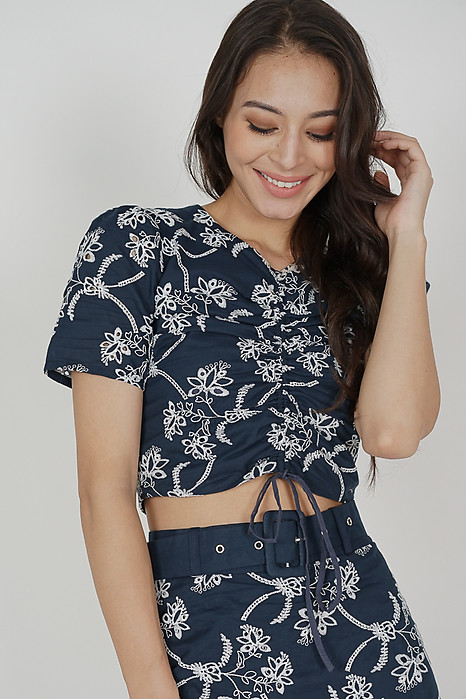 Maxine Gathered Tie Top in Navy