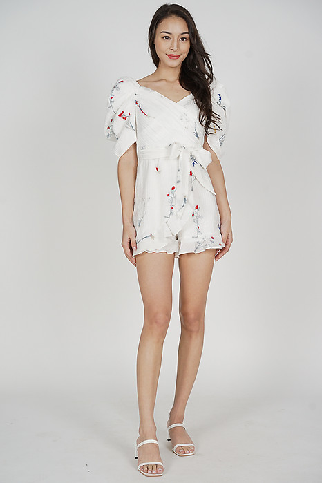 Rossie Puffy Romper in White Floral