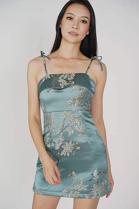 Lanah Jacquard Dress in Seafoam