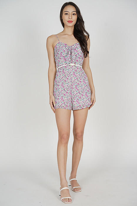 Sohyun Cami Romper in Pink Floral