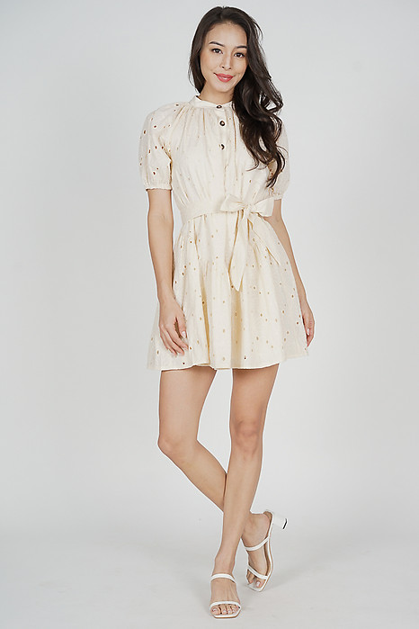 Hellin Buttoned Dress in Cream - Arriving Soon