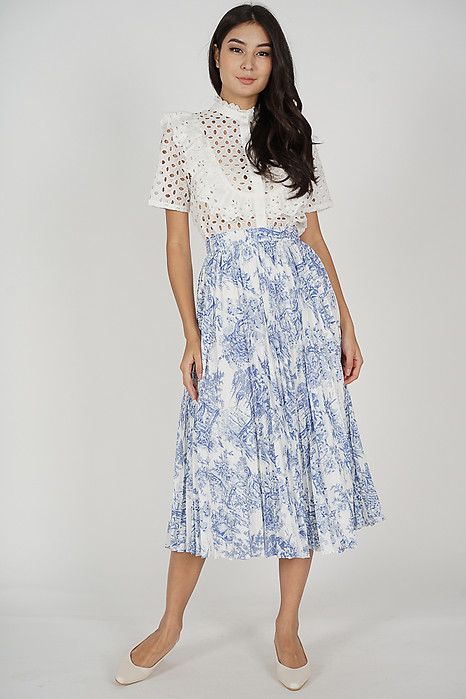 Aidrea Pleated Skirt in White Blue Abstract - Arriving Soon