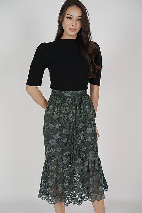 Freyja Lace Skirt in Forest Green - Arriving Soon