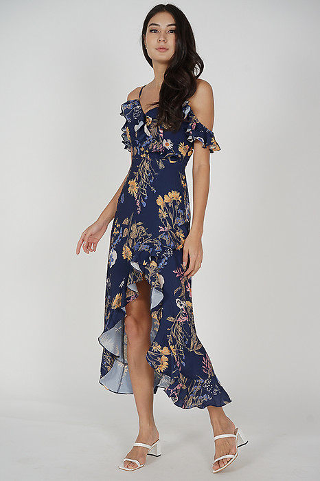 Asymmetrical Frilly Dress in Midnight Floral