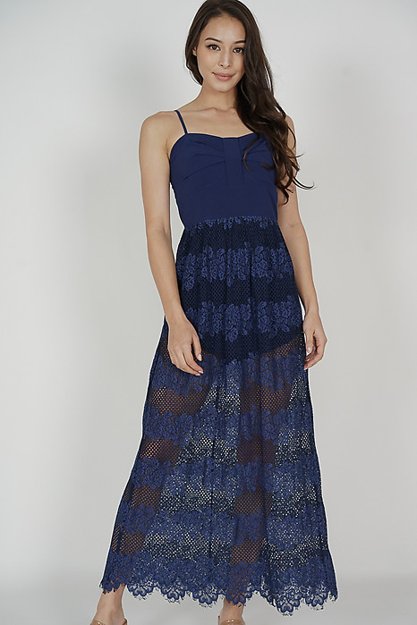Zaeny Maxi Romper Dress in Navy