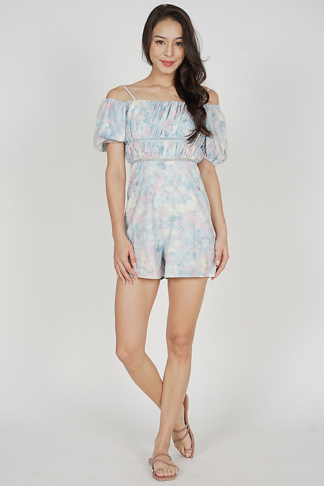 Wiana Ruched Romper in Pastel Abstract - Arriving Soon
