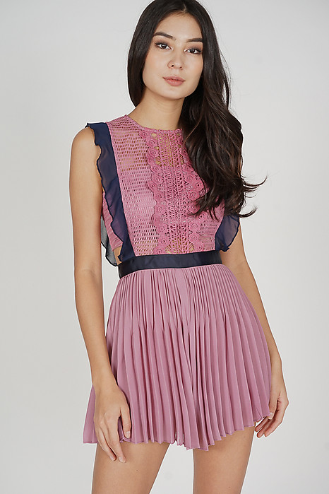 Beria Pleated Skorts Romper in Dark Pink - Arriving Soon