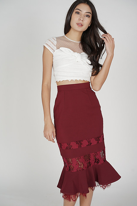 Norman Lace-Trimmed Skirt in Oxblood - Arriving Soon
