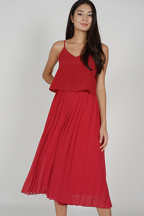 Evra Overlay Pleated Jumpsuit in Red - Arriving Soon