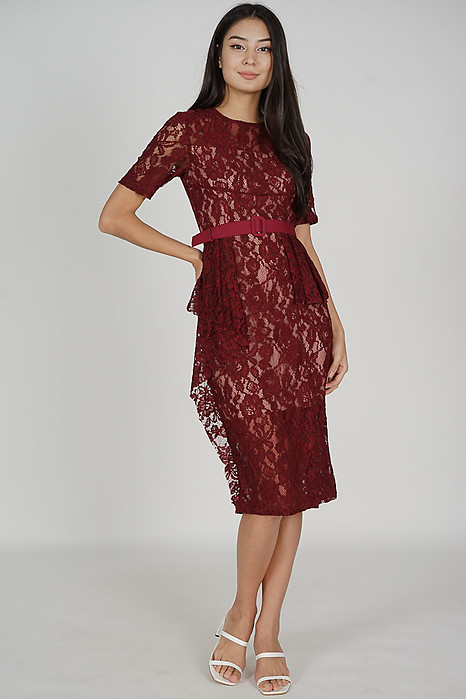 Olesha Lace Dress in Oxblood