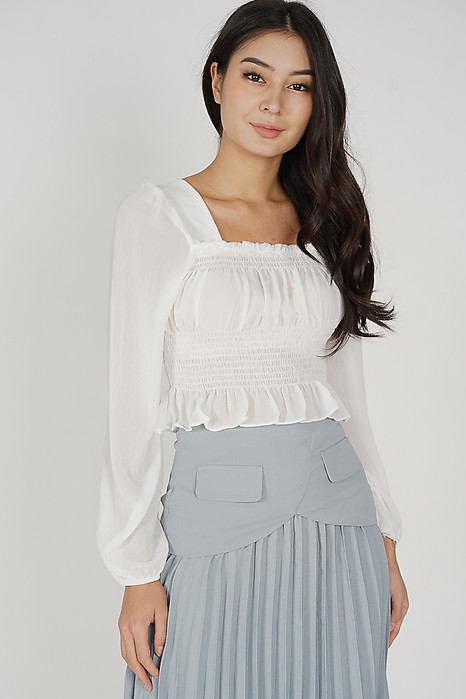 Joniah Gathered Top in White - Online Exclusive