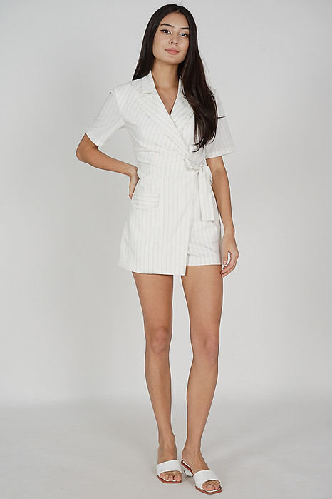 Soozi Tie Romper in White Stripes